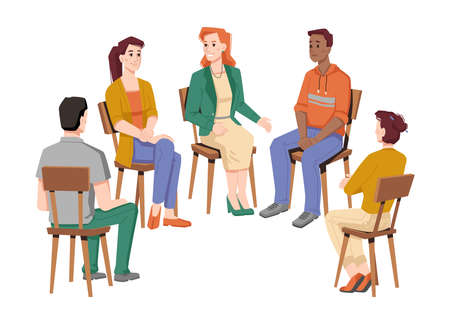 People communicating in group therapy, isolated circle of men and women from different races talking about problems and troubles in life. Psychological help and support. Vector in flat style