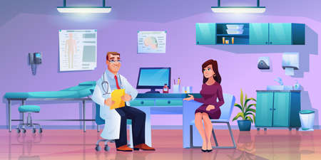 Doctor consults young woman, therapist and patient in doctors office. Vector female and physician, modern furniture in cabinet, wash basin, shelves, medical bed. Patient and therapist in white coat