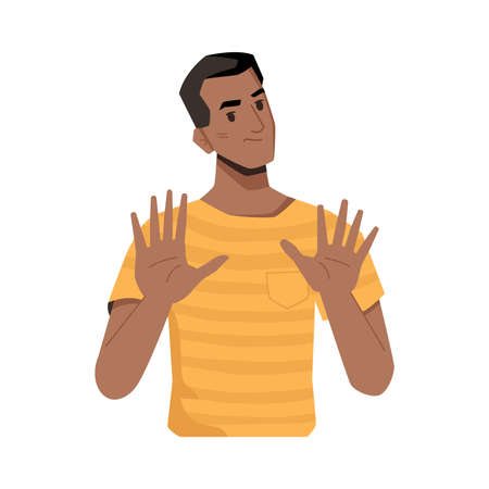 Dissatisfied person gesturing, isolated afro american man showing to move away. Denial or warning, rejection and pushing. Negative attitude or thoughts. Cartoon character, vector in flat style