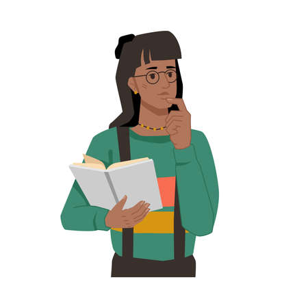Woman with book in hands, thoughtful face expression, afro american girl thinking about plot of novel. Vector black skin student with open textbook, young student in casual cloth studying or learning