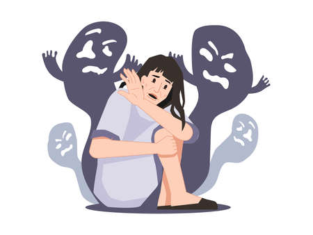 Personage suffering from schizophrenia and hallucinations seeing ghosts and creatures, spirits and shades. Mental disorder and diseases, psychopath or schizophrenic person. Vector in flat style