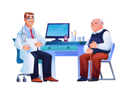 Doctor consult old man, therapist and patient sitting at chairs near table. Vector isolated pensioner and general practitioner, therapist with stethoscope on neck. Coronavirus illness treatment
