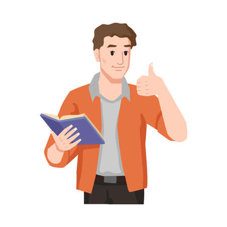 Man enjoys reading book showing like sign approval gesture isolated flat cartoon character feeling with novel or poetry. Vector guy reads interesting literature, educated person studying learning  イラスト・ベクター素材