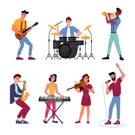 Musicians set. Vector music band players performs on instruments. Vector man and woman playing on digital piano, acoustic guitar and violin, saxophone and trumpet, drums kit, singer and microphone  イラスト・ベクター素材