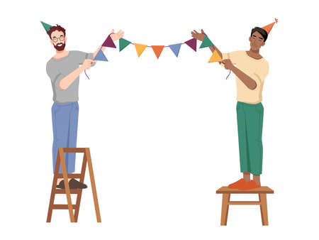 Guys hang holiday flags on rope, preparations to birthday party, caucasian and afro american guys on chairs in cone caps isolated. Vector people organizing celebration banquet, anniversary greetings