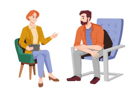 Psychologist gives advice to man patient in armchair isolated flat cartoon people. Vector female psychiatrist on psychotherapy session with bearded guy. Conversation on mental problems with couch