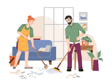 Couple of people sweeping and washing floor in house, room interior with sofa, table with plants in pots, window. Vector husband and wife doing housework household chores, cleaning room in apartment