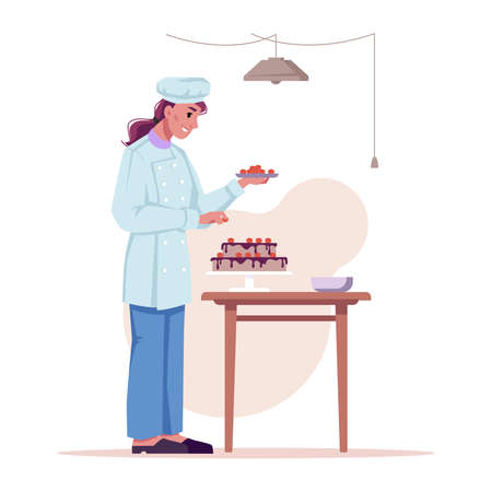 Chef prepares sweet cake isolated flat cartoon character. Vector woman baker cooks dessert, decorate pie by fruits or berries. Chocolate food snack on table, girl in hat and cooker uniform