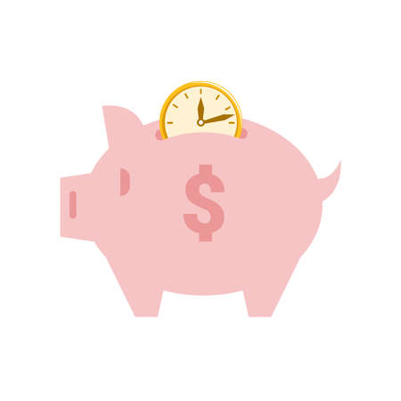 Time money is thrown into piggy bank isolated flat cartoon pig with savings. Vector business investment, financial economy and banking. Save profit, dollar sign and clock, investing in piggybank  イラスト・ベクター素材