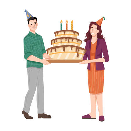 People holding birthday cake with candles, man and woman wearing paper cone hats. Greetings and congratulations with special holiday. Party preparation, positive characters. Vector in flat style