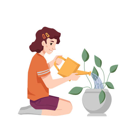 Girl child watering flowerpot with water can isolated flat cartoon character. Vector young caucasian girl sitting on knees and growing plant with leaves, houseplant and kids hobby, indoor activity  イラスト・ベクター素材