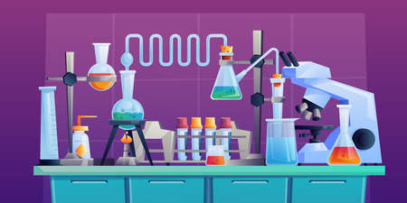 Conducting chemical test or experiment on indoor table, laboratory to conduct medical researchers with test tubes, beakers and pipeline. Vector cartoon pharmaceutical and medical glassware, microscope