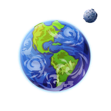 Earth and Moon planets of solar system isolated icons. Vector globe with green continents, seas and oceans, celestial outer space body with craters. Save the planet, ecology protection concept