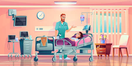 Doctor talking to patient in hospital bed with dropper, hospital operation ward cells. Vector room in medical clinic interior, practitioner and patient. Physician treating ill person intensive therapy  イラスト・ベクター素材