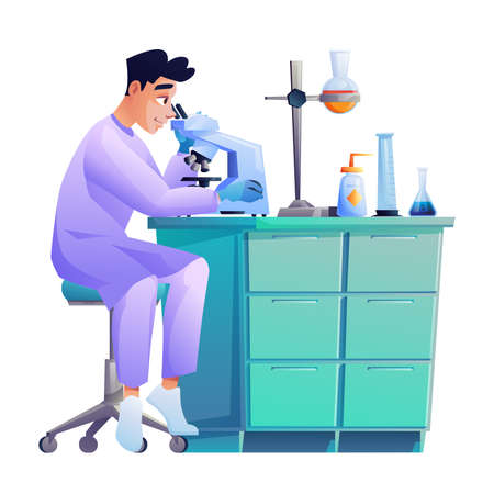 Laboratory assistant looks through microscope, conducting experiment, scientific worker. Vector chemist pharmacy specialist lab scientist with chemical flasks. Holder on table, test tubes with liquids