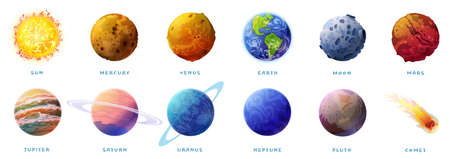 Planets of Solar system and comet isolated cartoon set on white. Vector inner, rocky Mercury, Venus and Earth, Mars. Outer space gas giants Jupiter and Saturn, ice Uranus and Neptune, Pluto, Sun Moon