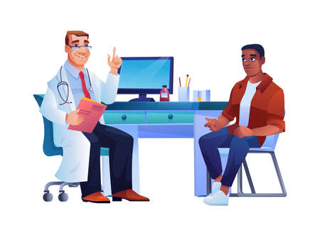 Patient and specialist in doctors office, afro american man on consultation of general practitioner. Vector therapist in white coat, stethoscope and illness history in hands consult black skin guy  イラスト・ベクター素材