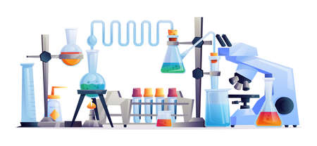 Chemical laboratory experiment isolated set of equipment, test tubes and flasks, beakers and medical glassware. Vector scientific lab to conduct researches, microscope and medical containers Illustration