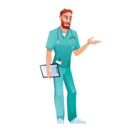 Practitioner in blue scrub top and pants, speaking and gesturing isolated doctor. Vector medical worker with folder with prescription or therapy list appointment to patient. Bearded physician