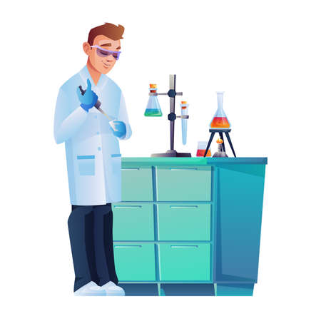 Laboratory assistant in safety glasses conducting experiment isolated scientific worker. Vector lab scientist with chemical flasks holder on table, test tubes with liquids. Chemist pharmacy specialist  イラスト・ベクター素材