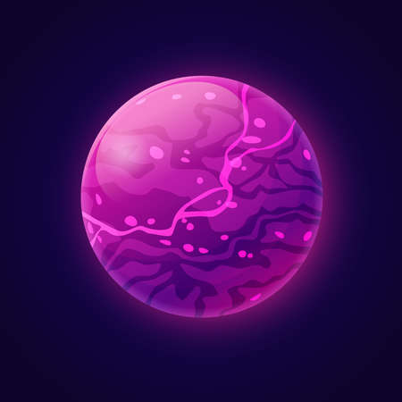 Fictional planet with plasma liquid and violet energy. Cosmos and universe, outer space exploration or discoveries. Fantasy celestial body, star or asteroid design. Cartoon vector in flat style