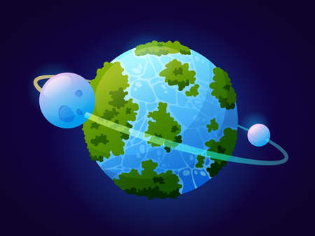 Fantasy planet looks like Earth with vegetation and water masses. Celestial body with satellite and orbit. Planetarium and outer space exploration and discoveries. Cartoon vector in flat style