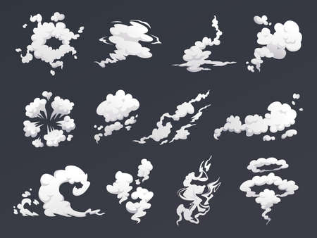 Smoke clouds set of special effects isolated on dark background. Vector cartoon steam or fog, cloud of smog and dust. Cloudy sky, pollution explosion, trail from car gas, steam of vapor in movement