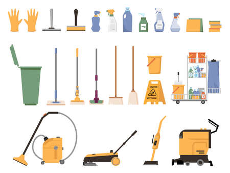 Cleaner equipment isolated flat cartoon set of cleaning supplies accessories. Vector vacuum cleaner and brush, buckets and dustbins, detergents and rubber gloves. Washing tools, basins and sponges  イラスト・ベクター素材