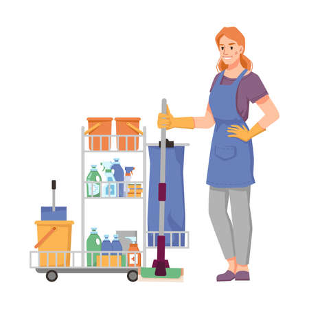 Cleaning company worker in uniform with trolley full of mops, detergents, buckets and cloths. Sanitary care and cleanliness of home, hotel or office. Isolated cartoon character, vector in flat style