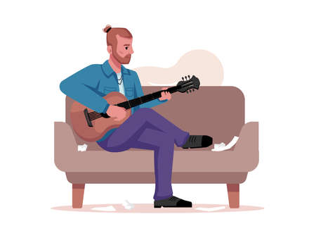 Musician plays guitar, writes music isolated guitarist sitting on sofa with musical instrument. Vector flat cartoon character with acoustic string guitar, compose or sing sons, band player  イラスト・ベクター素材