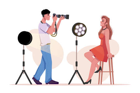 Photographer photographing model, lighting equipment isolated flat cartoon man and woman in photo shooting studio. Vector camera ans spotlight, girl in red dress and photomaker, projectors with light
