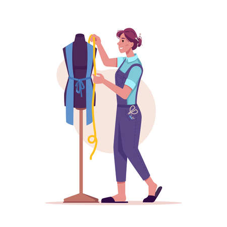 Seamstress measures clothes, sews and cut clothes isolated flat cartoon character. Vector tailor woman sewing dress textile on mannequin, measuring tape, needles and scissors in pocket. Tailoring lady