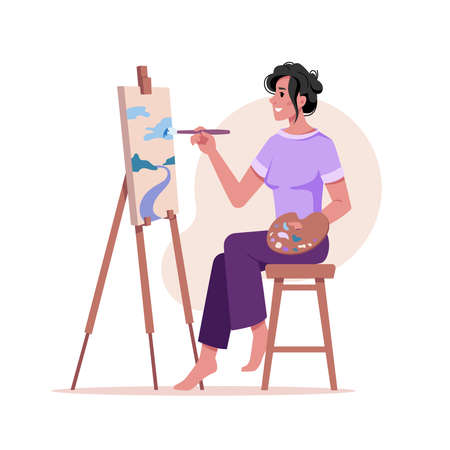 Artist paints picture at easel isolated woman with brush drawing on tripod at paper isolated flat cartoon character. Vector art painter draw on canvas by paintbrush, palette in hands, artwork creation
