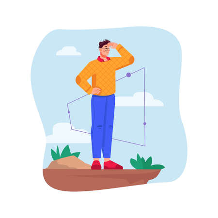 Man looking in distance from edge of cliff. Isolated boss or leader looking for opportunities for business and growth. Successful boss with future vision. Cartoon character, vector in flat style  イラスト・ベクター素材