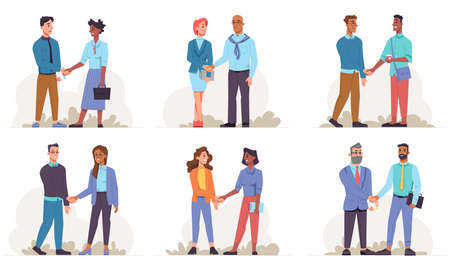 Businessman and business woman of different races shake hands isolated flat cartoon people. Vector handshake of multinational colleagues working in team. Cooperation and teamwork of upper bodies
