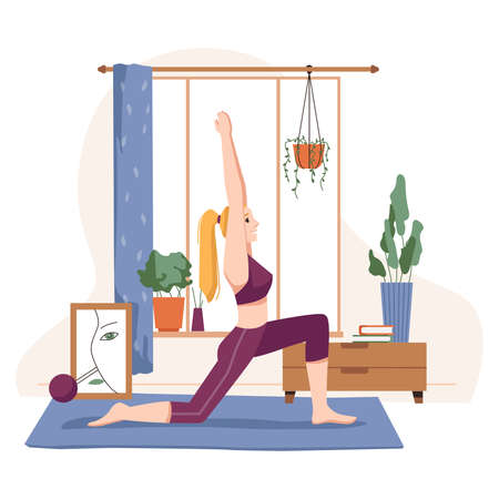 Woman doing yoga at home, female personage standing in pose practising asana. Relaxation during quarantine, wellbeing and wellness. Active lifestyle and care. Cartoon character, vector in flat style