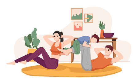 Parents training at home with kid. Man and woman leading active lifestyle together. Male and female with son laying on floor doing plank for abs and strength. Cartoon character, vector in flat style  イラスト・ベクター素材