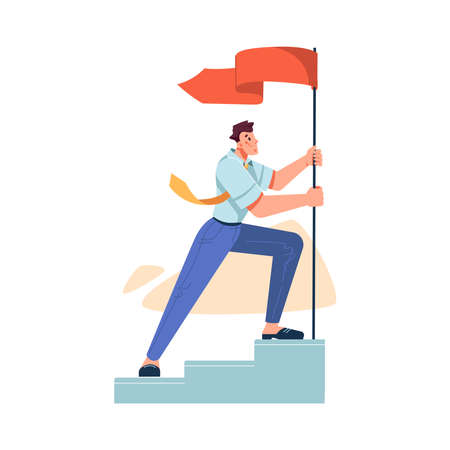 Achieving best results and success at work. Isolated businessman raising flag standing o stairs. Growth of company and organization. Mission concept and improvement. Cartoon character, vector in flat