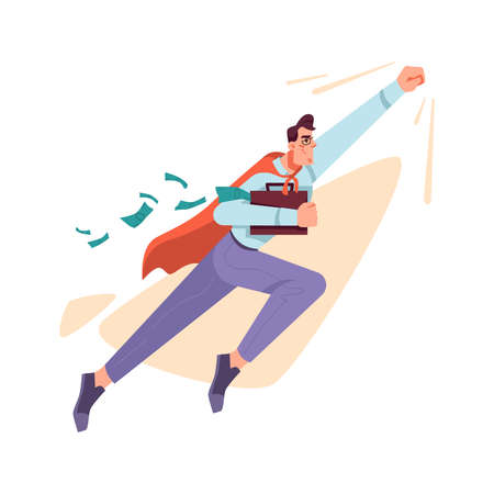 Business mission concept, achieving results and success in financial field. Isolated businessman like superhero with cloak. Success and benefit, profit and target. Cartoon character, vector in flat  イラスト・ベクター素材