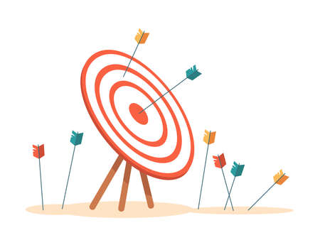Bullseye with arrows hitting aim, isolated target with missed and failed attempts. Business mission concept, tries and achieving success at work. Game sports and leisure. Vector in flat style  イラスト・ベクター素材