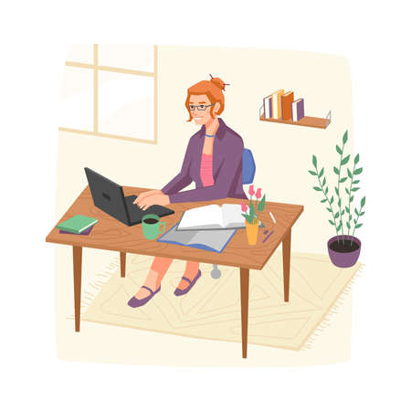 Female personage working from home office sitting by workplace with laptop and papers. Isolated smart lady with glasses, freelancer or boss. Businesslady cartoon character, vector in flat style