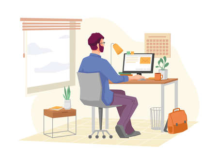 Employee working from home, remote job using personal computer or laptop for tasks completion. Businessman at workplace with gadget, light and decoration. Cartoon character, vector in flat style