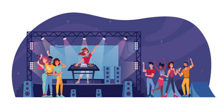 Open air festival, DJ on stage, audience at nightclub party isolated. Vector nightlife entertainment, music concert and crown of people. Applauding fans with hands up, outdoor nightclub, spotlights