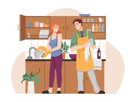 Couple wash and dry dishes in kitchen, flat cartoon people. Vector man in apron and woman doing household chores together, husband and wife at housework, housekeeping and spending time together