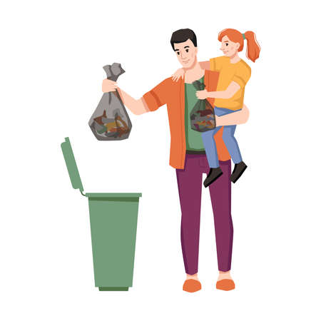 Father and daughter throw garbage in trash can isolated flat cartoon characters. Vector clean environment and nature, dustbin and sorting of wastes, preschool girl with dad throw litter into container
