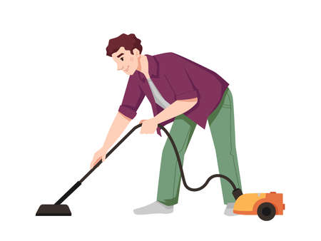 Guy vacuums flat with vacuum cleaner isolated flat cartoon character. Vector male doing housework chores, housekeeping and cleaning apartment. Husbands vacuuming house with hoover electric appliance