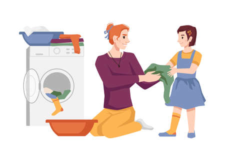 Woman with her daughter washes clothes, puts apparel into washing machine, laundry house chores. Vector mother and girl doing housework together, housewife and little helper, loading appliance to wash  イラスト・ベクター素材