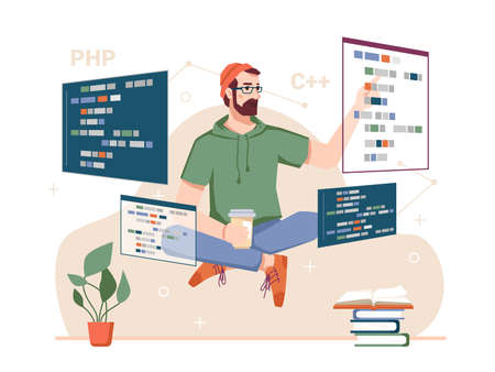 Skillful coder with monitors and gadgets, male personage developing websites and coding. Programming hobby and work. Bearded guy with coffee and scripts. Cartoon character, vector in flat style  イラスト・ベクター素材