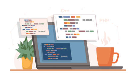 Coding and programming, developing sites using special language. Isolated laptop or computer screen with cup of coffee and plant in pot. Desk of coder, online programmer. Vector in flat style  イラスト・ベクター素材