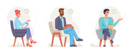 Professional psychologists in chairs holding clipboard with notes to write down info. Specialists giving mental healthcare and support for patients suffering from problems. Vector in flat style